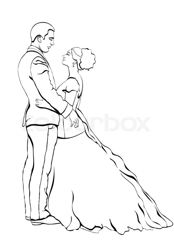566x800 Bride And Groom Outline Cartoon, Vector Contour Drawing, Coloring