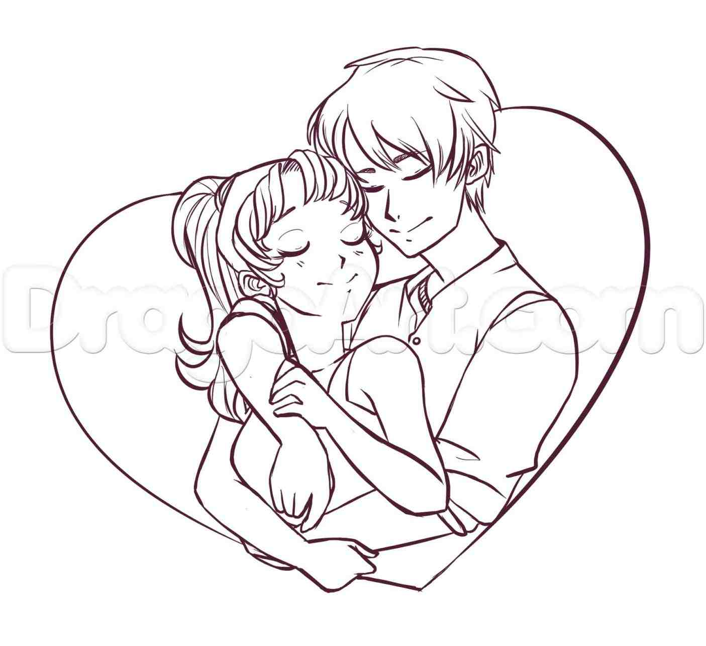 1405x1285 Couple Hugging Drawing Easy