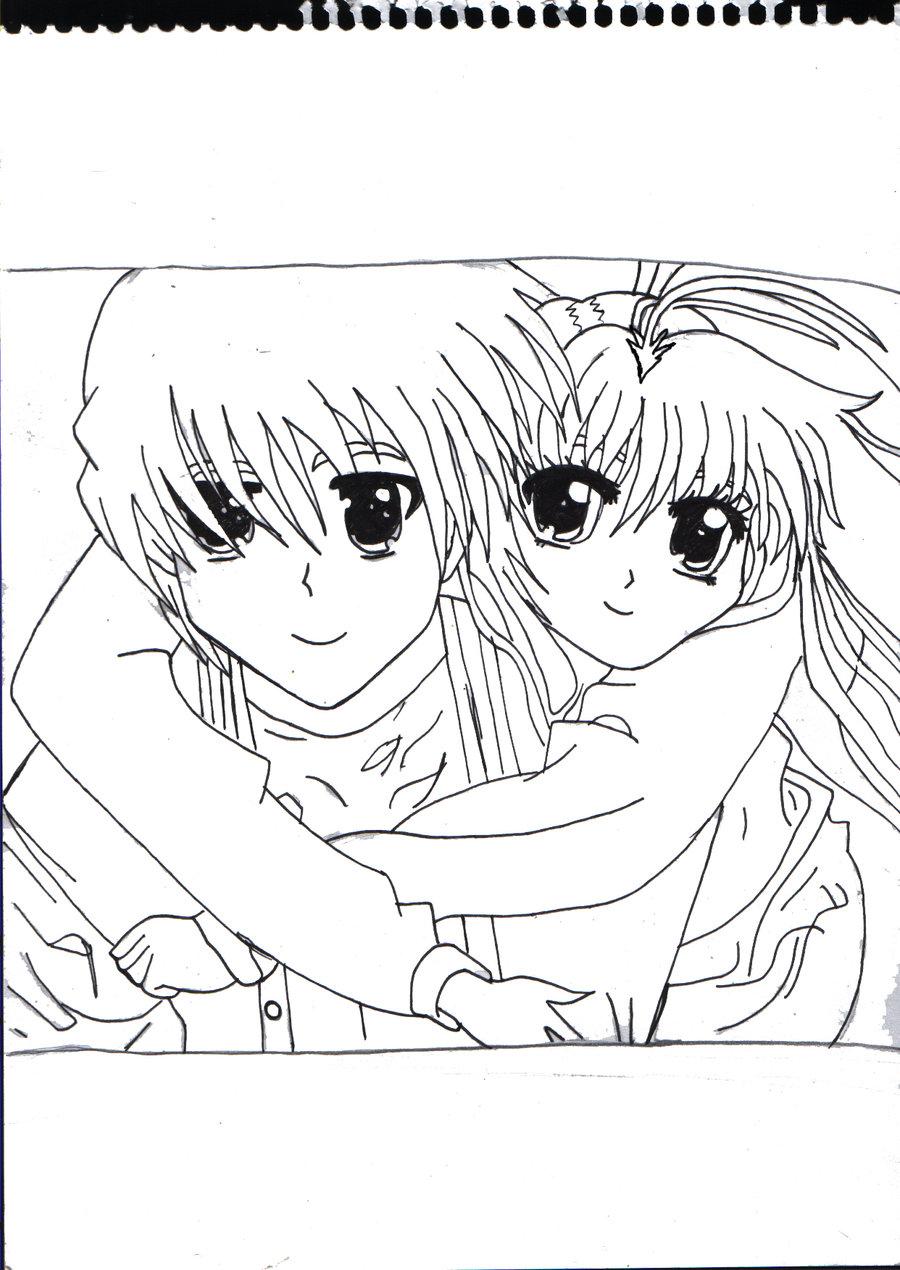 900x1270 Anime Couple Hug Outlined By X Xanimenerdx X