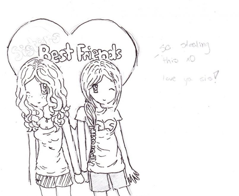 805x660 Drawing How Draw A Best Friend Heartgether With How