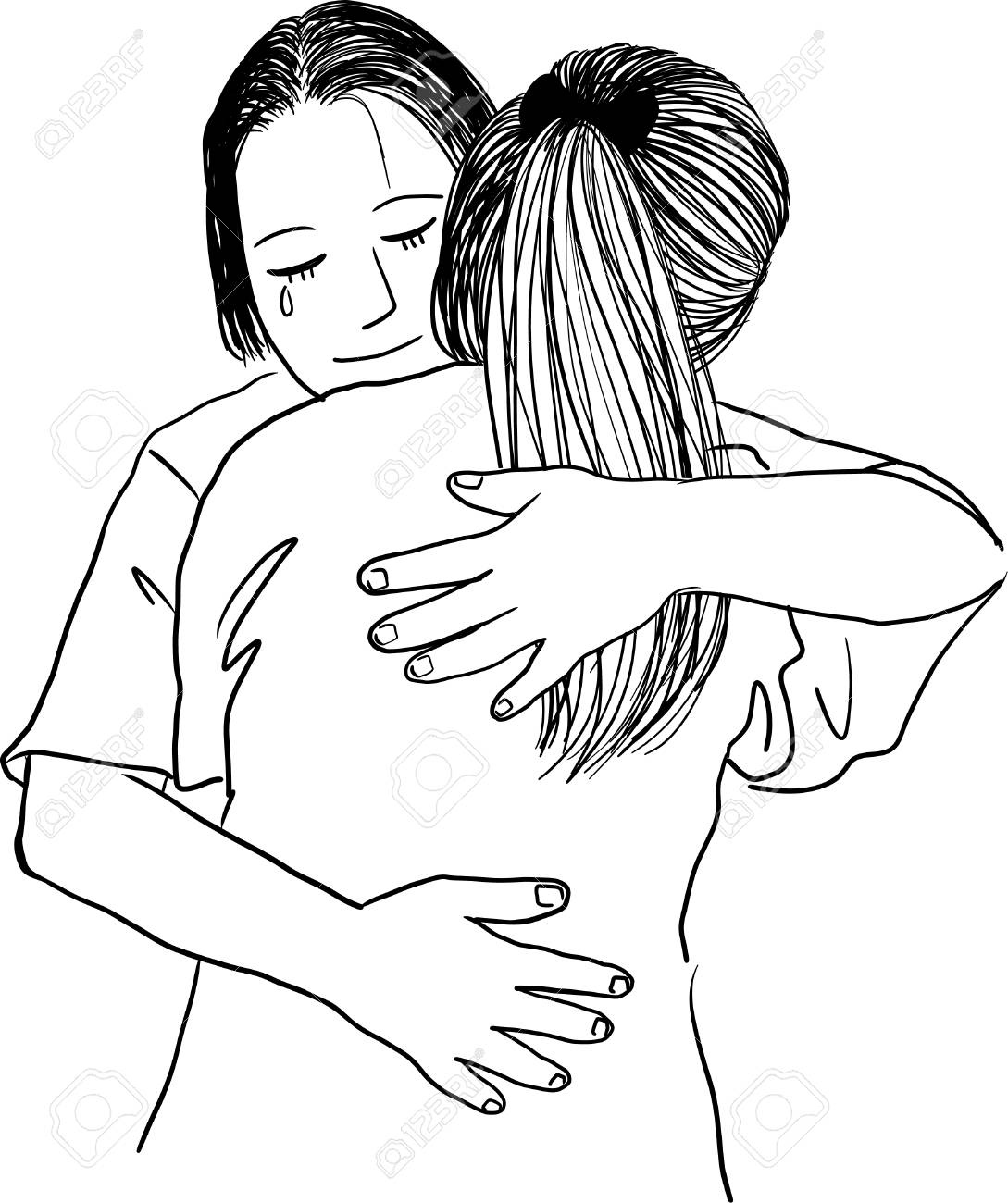 1089x1300 Drawing Of Mother Hugging Her Teenage Daughter Royalty Free