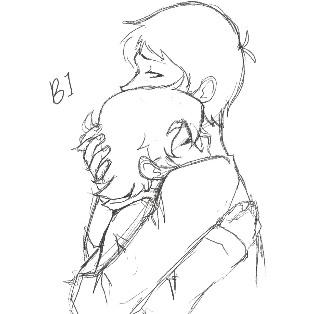 1280x1280 Lance And Pidge Hugging Each Other Sketch Drawing From Voltron