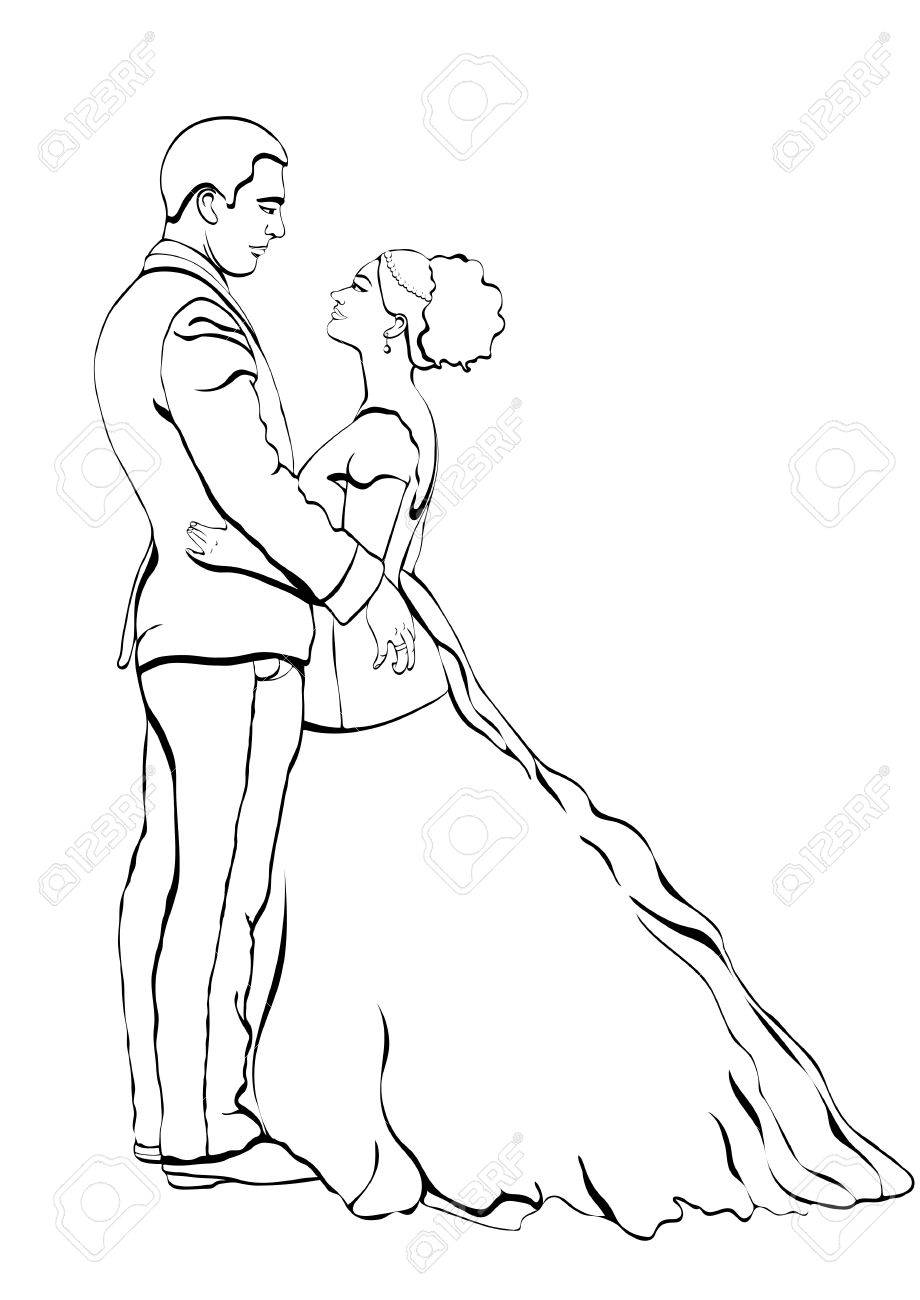 920x1300 Bride And Groom Outline Cartoon, Vector Contour Drawing, Coloring