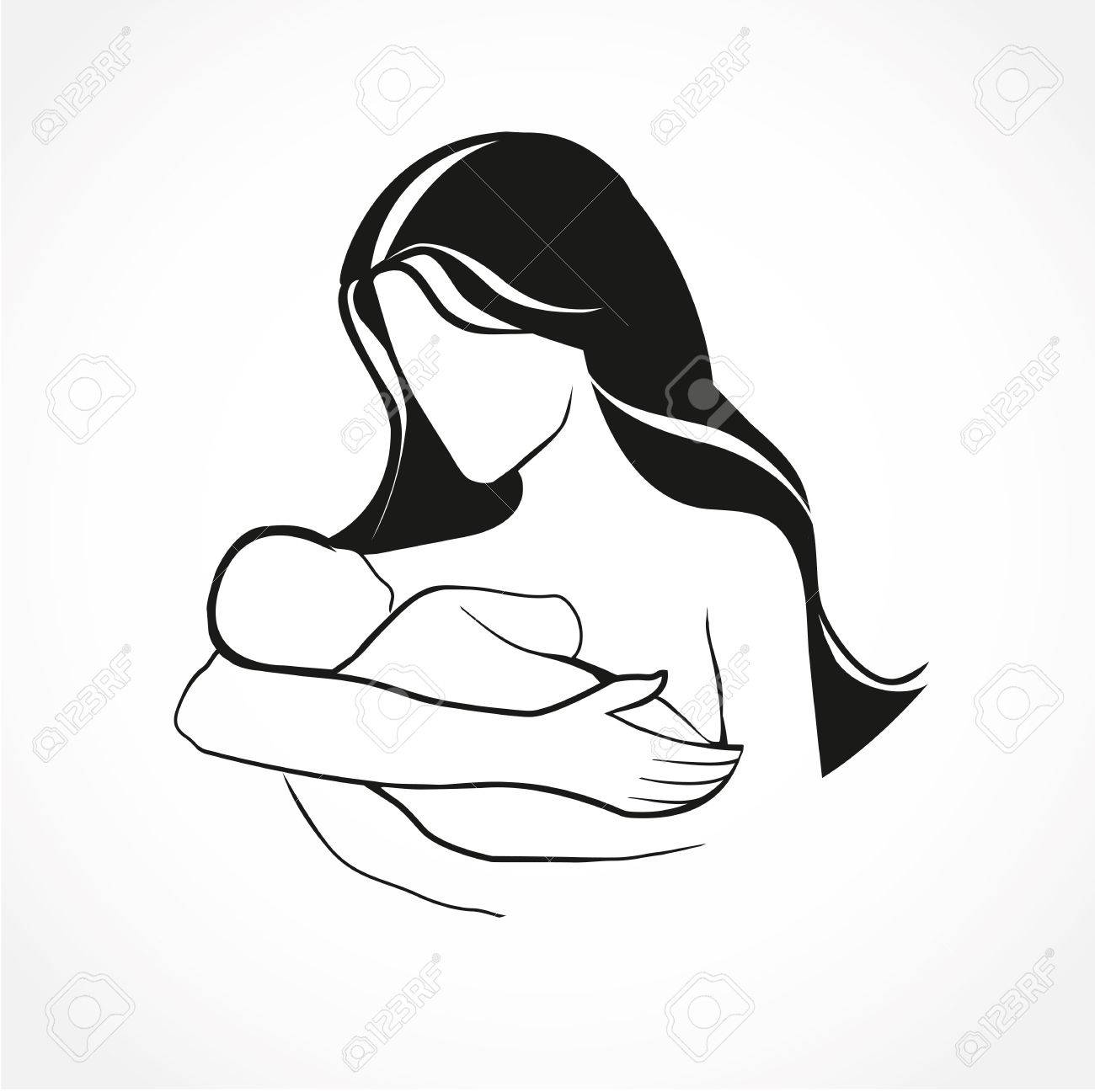 1300x1297 Mother And Baby Stylized Vector Symbol, Mom Hugs Her Child. Hand