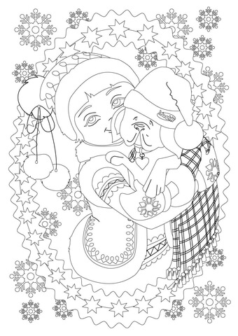 340x480 A Little Girl Hugs Her Puppy Dog While It Is Snowing Coloring Page