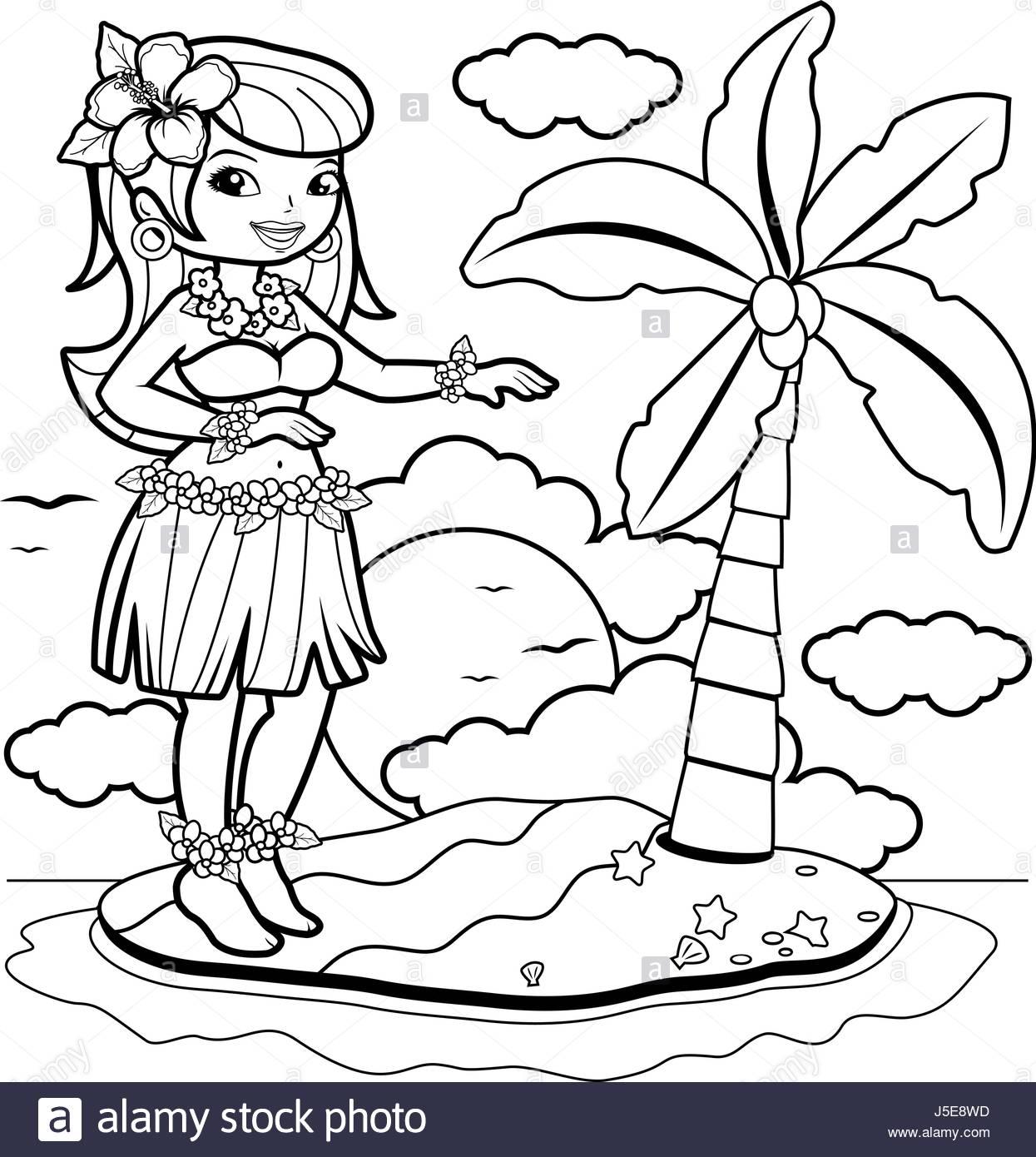 1245x1390 Hawaiian Woman Hula Dancer On An Island. Coloring Book Page Stock