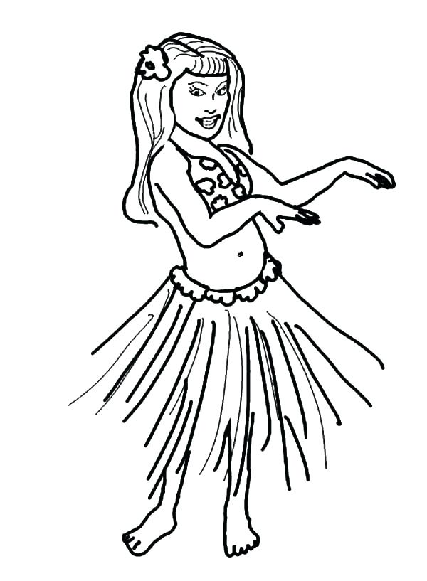600x817 Hula Girl Coloring Page Hula Girl Wave Her Hand Coloring Pages