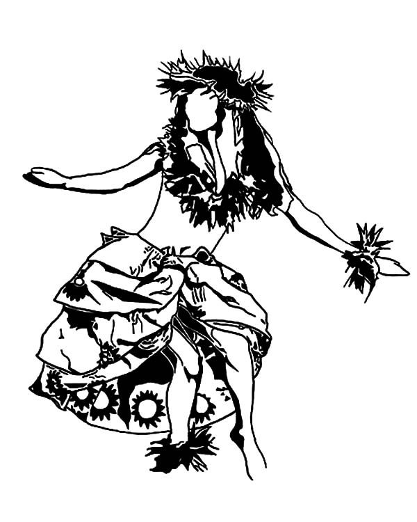 600x750 Hula Girl Performing Hawaiian Dance Coloring Pages Happy Lei Day