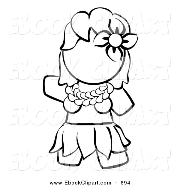 600x620 Vector Clip Art Of A Black And White Human Factor Hawaiian Hula