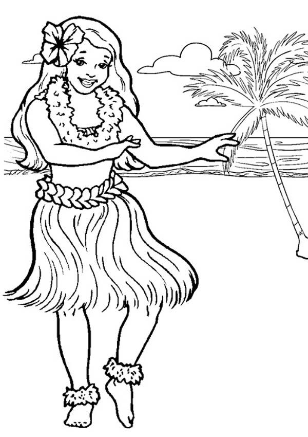 600x850 Hawaiian Hula Dancer Coloring Page