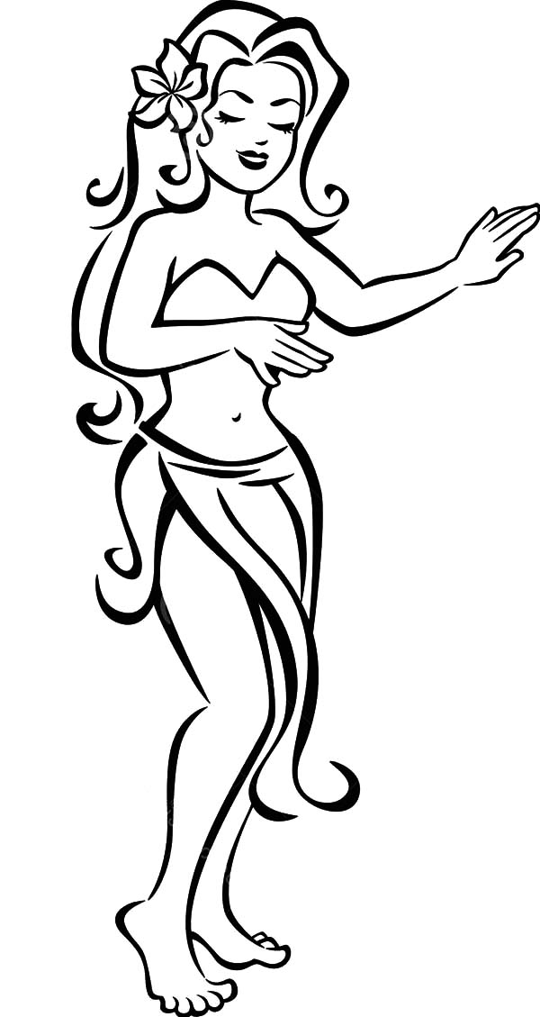600x1129 Hawaiian Hula Dancers Coloring Pages Dancer Silhouette Clip