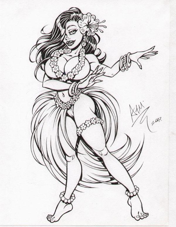 600x772 Hula Girl Art Armando Huerta Hula Girl, In Dave Morris'S