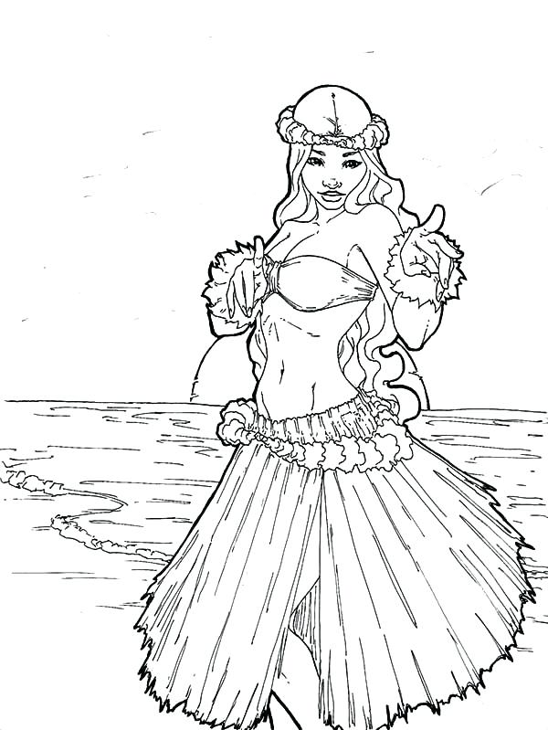 600x799 hula girl coloring page coloring pages for girls flowers draw boy