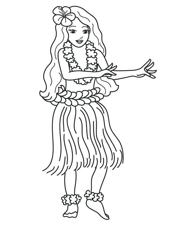 600x777 Hula Girl Coloring Page Coloring Sheets Hula Girl Coloring Page