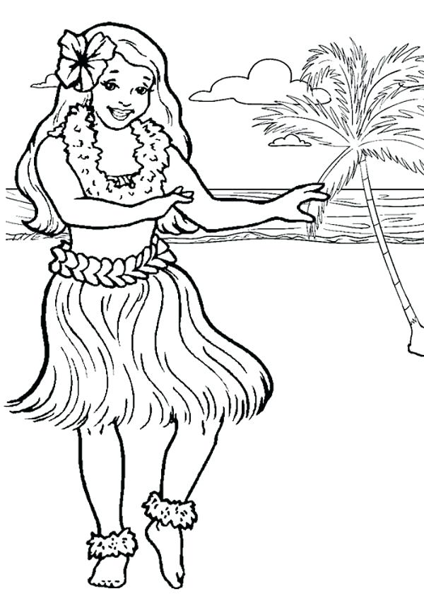 600x850 Hula Girl Coloring Page Hula Dancer Coloring Page Hula Girl
