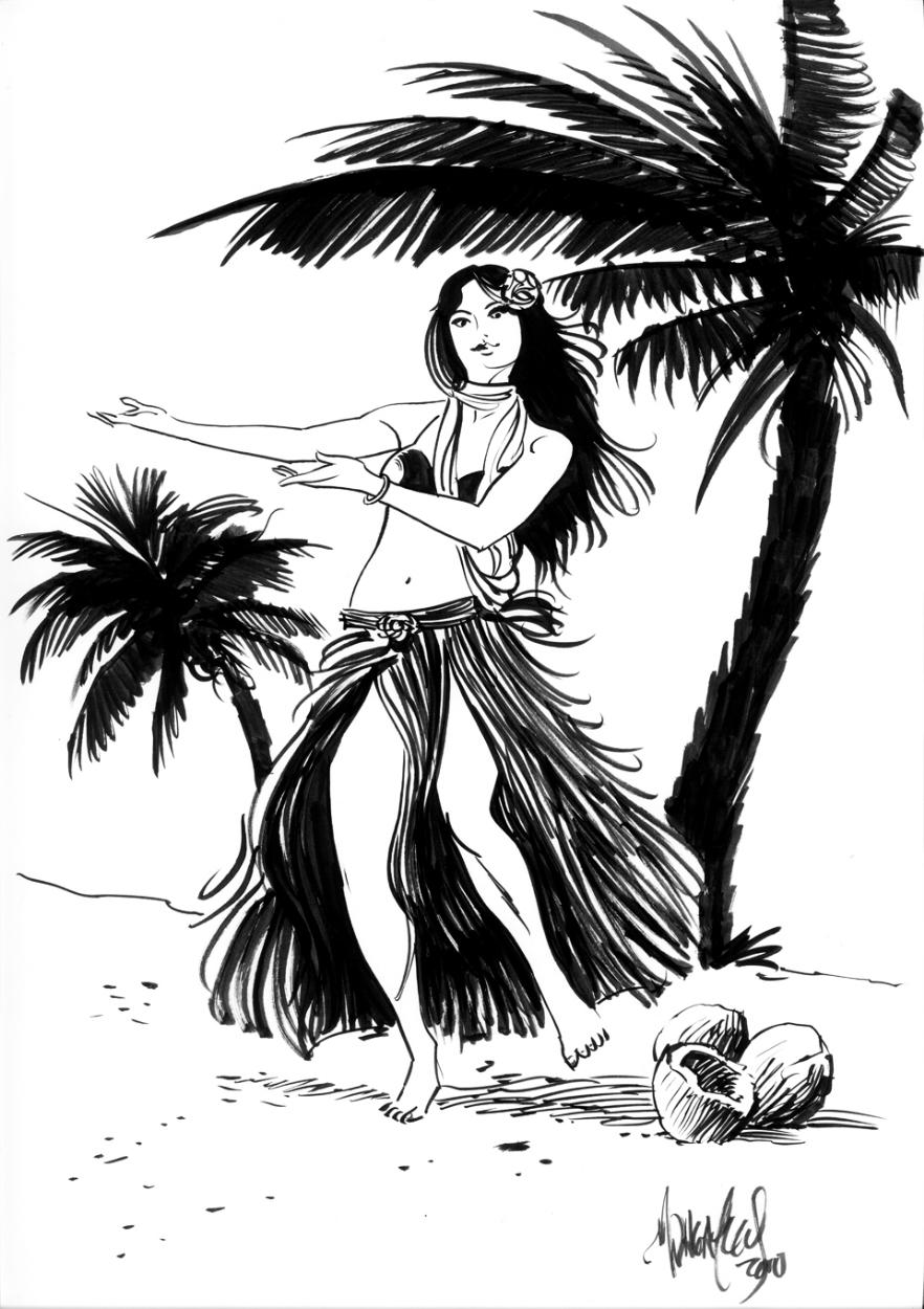 882x1250 Mark Wheatley Hula Girl, In Dave Morris's Commissions Hula Girls
