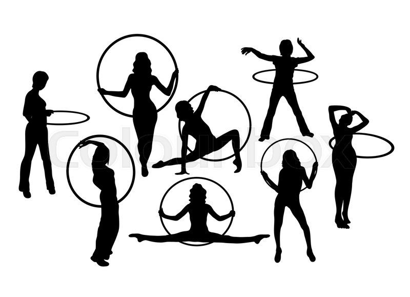 800x579 Hula Hoop Dancer Activity Silhouettes, Art Vector Design Stock