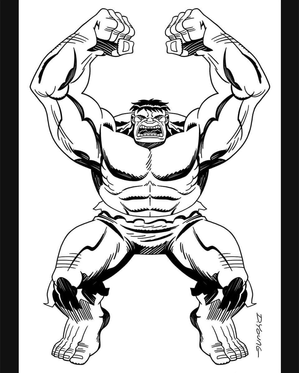 958x1198 Darryl Young Design Incredible Hulk Black And White