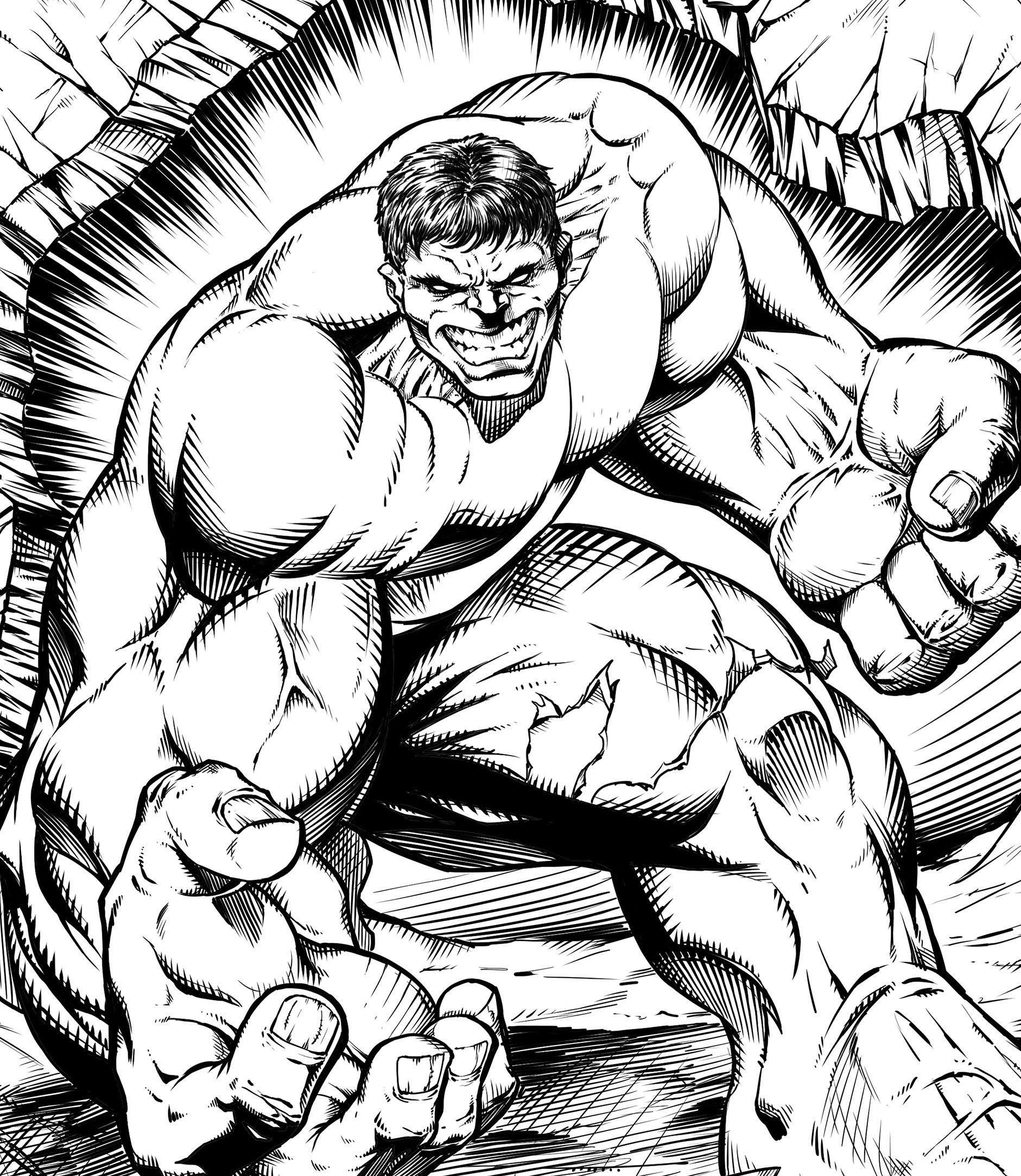 1881x2165 Hulk Speed Drawing Digital Pencils And Inks Manga Studio By Ram
