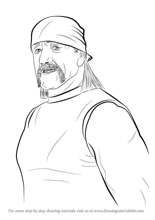 596x842 Learn How To Draw Hulk Hogan (Wrestlers) Step By Step Drawing