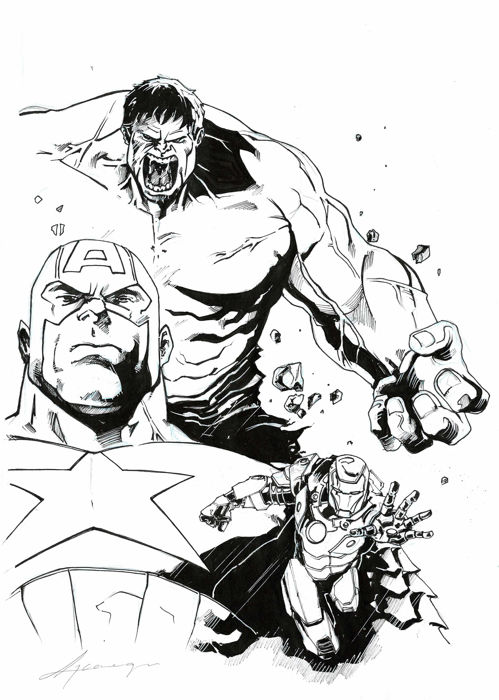 499x700 Captain America, Iron Man And Hulk
