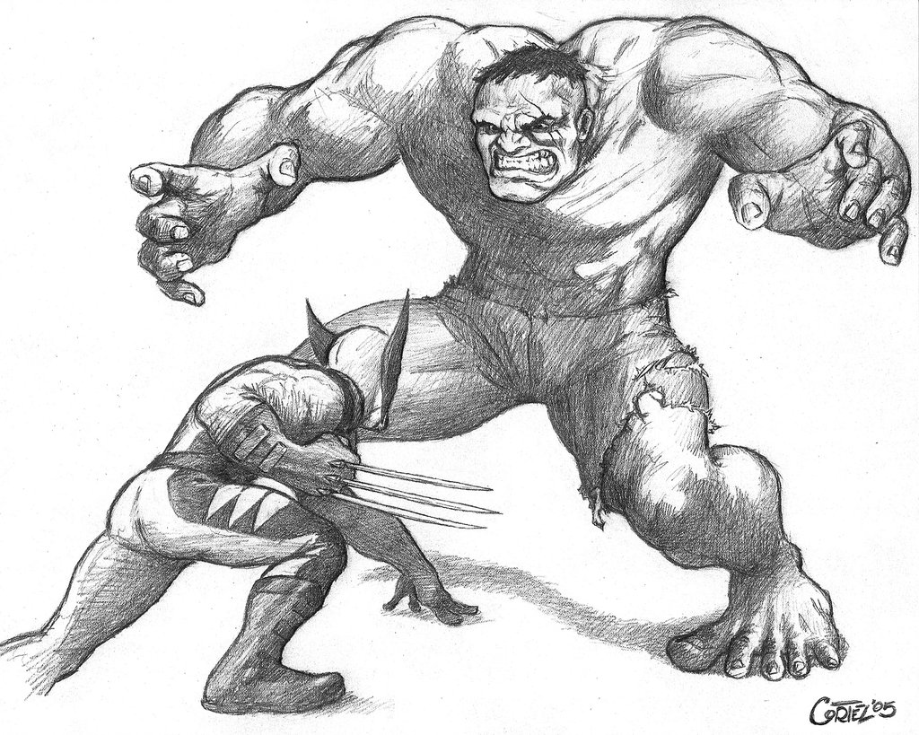 1024x819 Wolverine Vs Hulk 2005 By Sumo0172