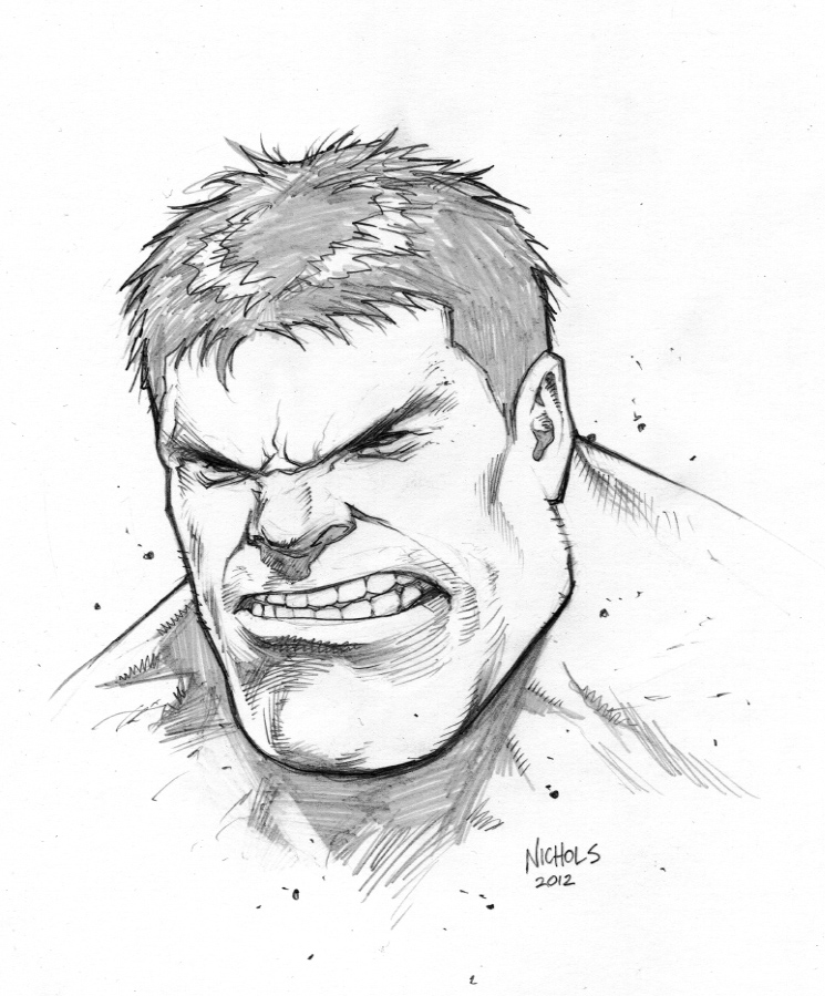 745x899 Hulk Head Sketch Commission By Flowcoma