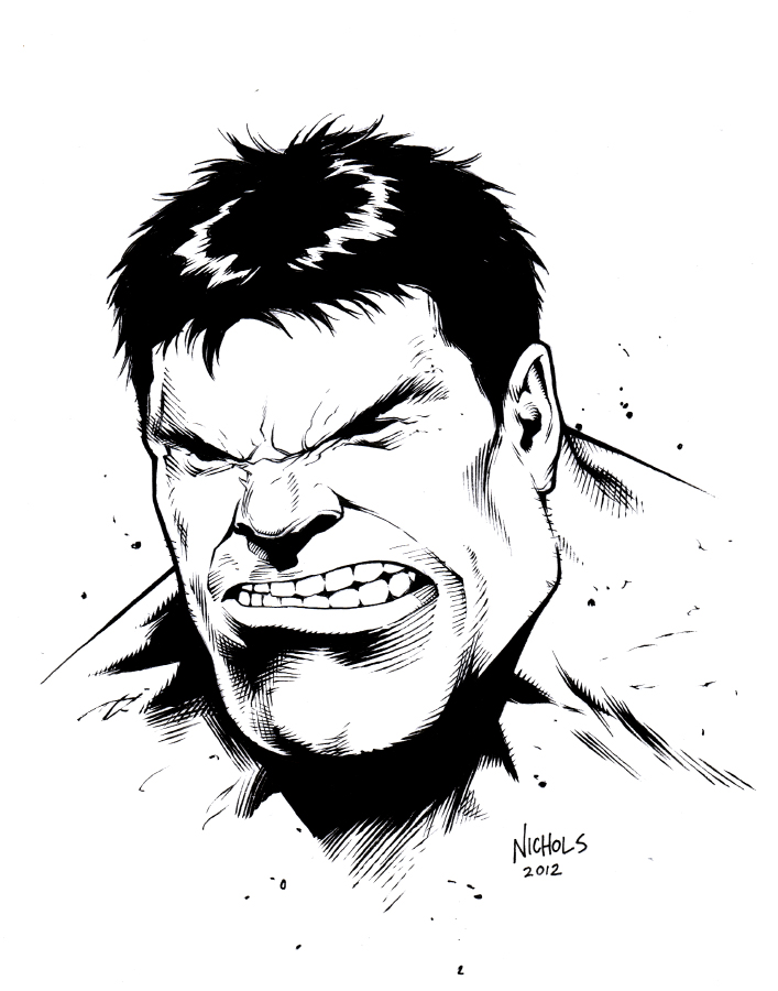 707x900 Hulk Head Sketch Inks By Flowcoma