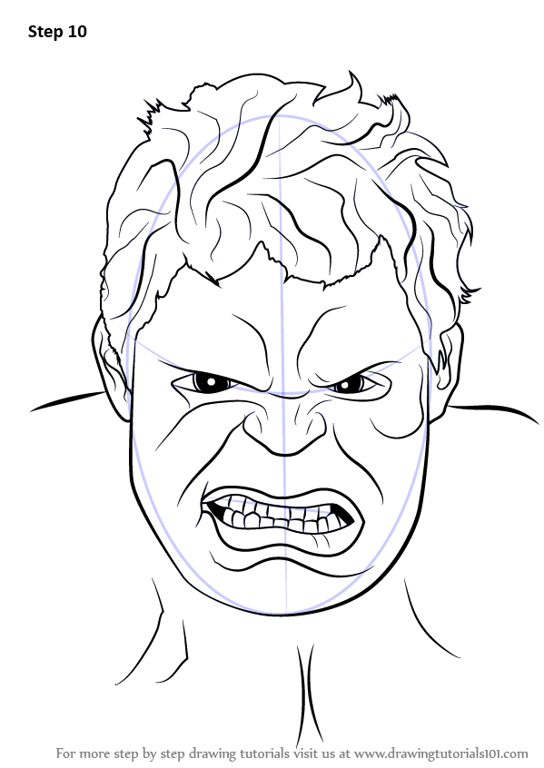 599x846 Learn How To Draw The Hulk Face (The Hulk) Step By Step Drawing