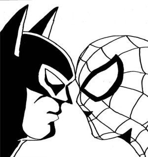 300x319 Spiderman Coloring Pages Spiderman Batman Face To Face Coloring