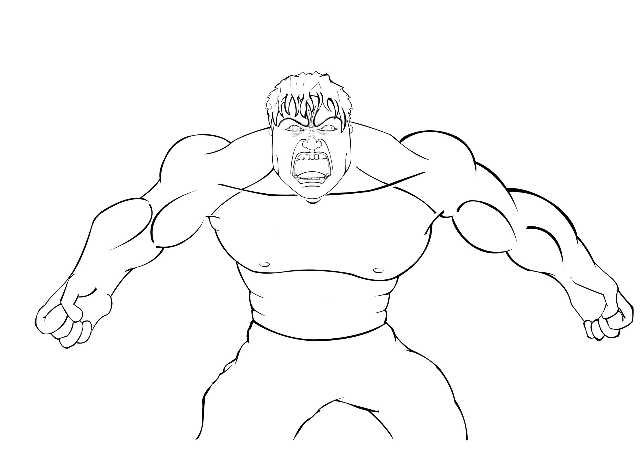 2237x1564 Excellent Idea Hulk Outline Avengers The Coloring Page Free