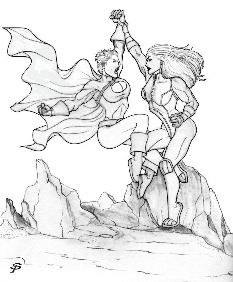 813x983 Power Girl Vs She Hulk Pencils By Sparksflystudios
