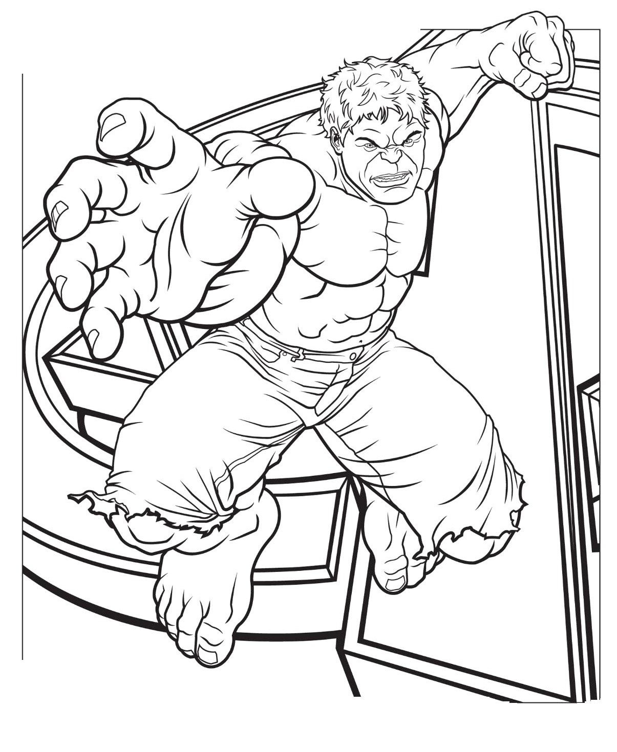 1205x1470 Hulk Jump Coloring Page For Kids Color Sheets