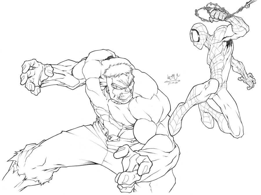 Spiderman Hulk Action Spiderman And Hulk Coloring Pages