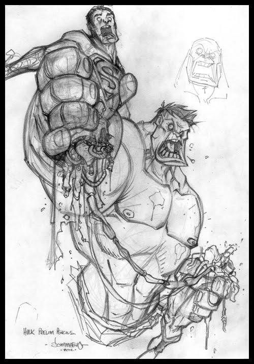 500x716 Drawn Hulk Superman Drawing
