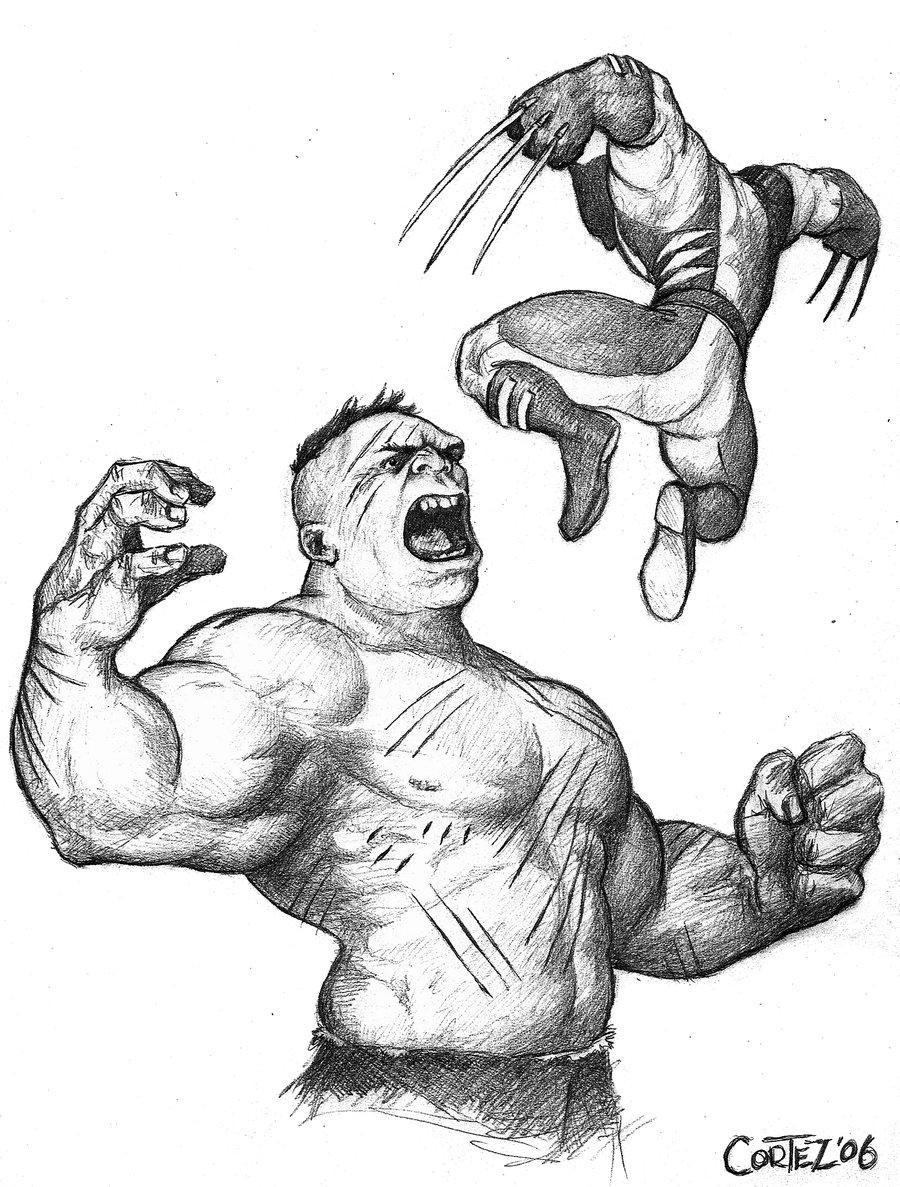 900x1187 Drawn Hulk Wolverine