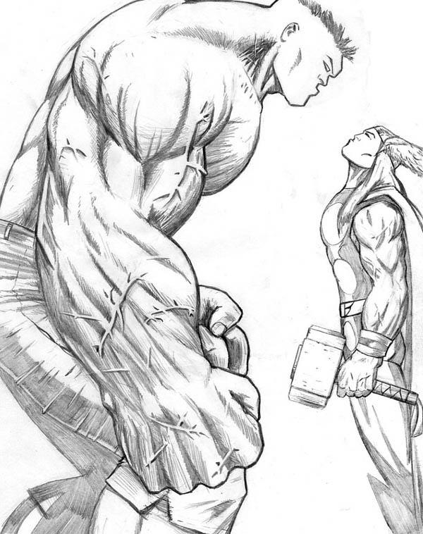 600x758 Drawn Thor Drawing Hulk
