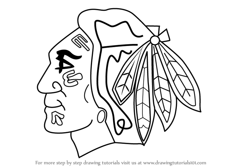 800x566 Learn How To Draw Chicago Blackhawks Logo (Nhl) Step By Step