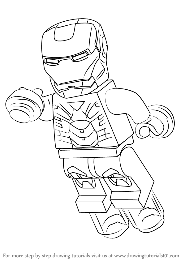 598x844 Learn How To Draw Lego Iron Man (Lego) Step By Step Drawing