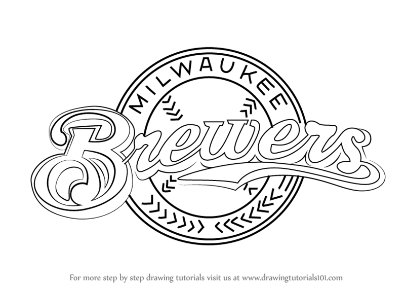 800x566 Learn How To Draw Milwaukee Brewers Logo (Mlb) Step By Step