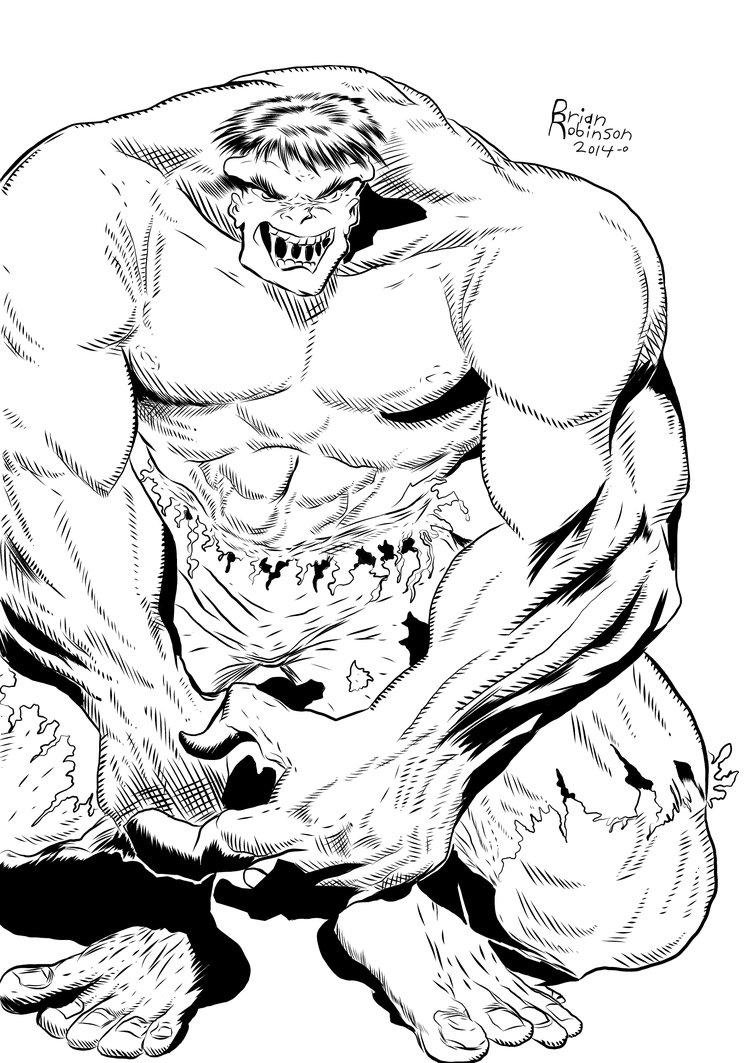 752x1063 Hulk Pencil Drawing Inked By Brian Robinson By Brianrobinson