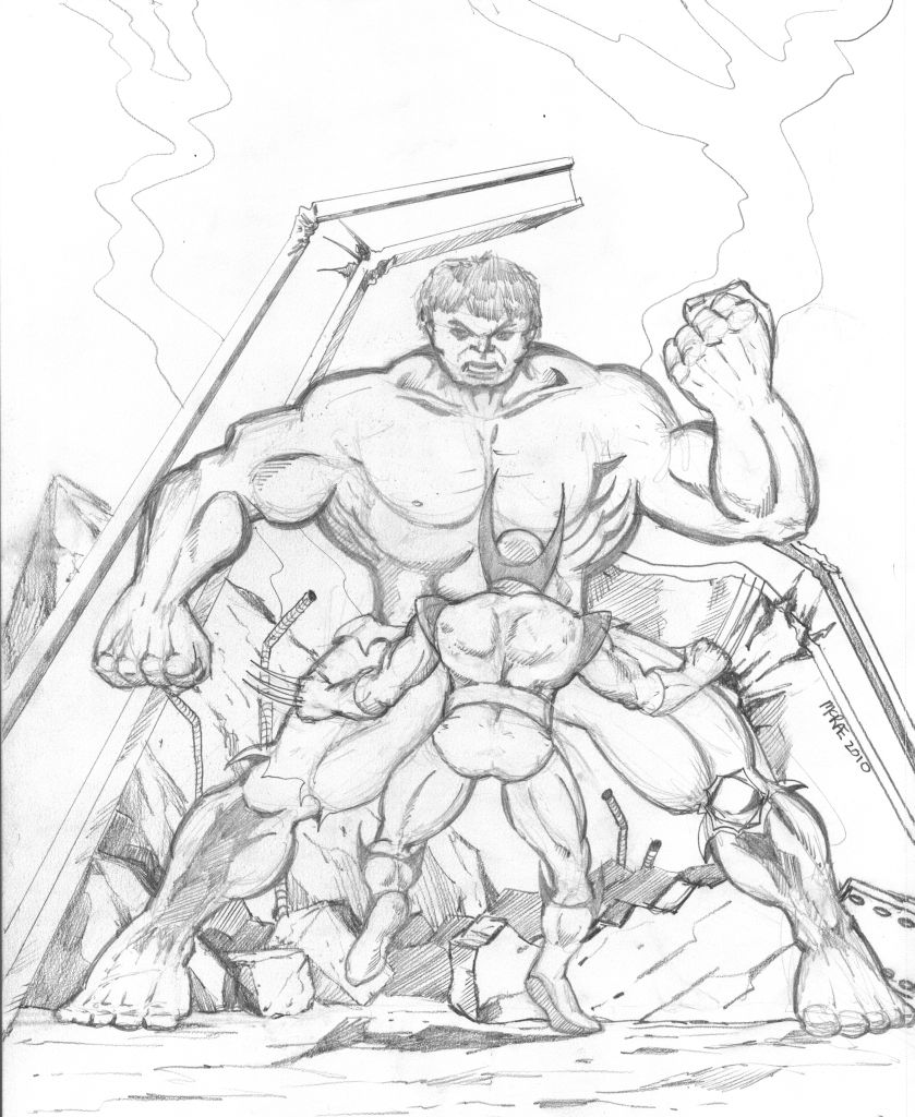 839x1024 Paul's Blog Sketch Wolverine Vs. Hulk