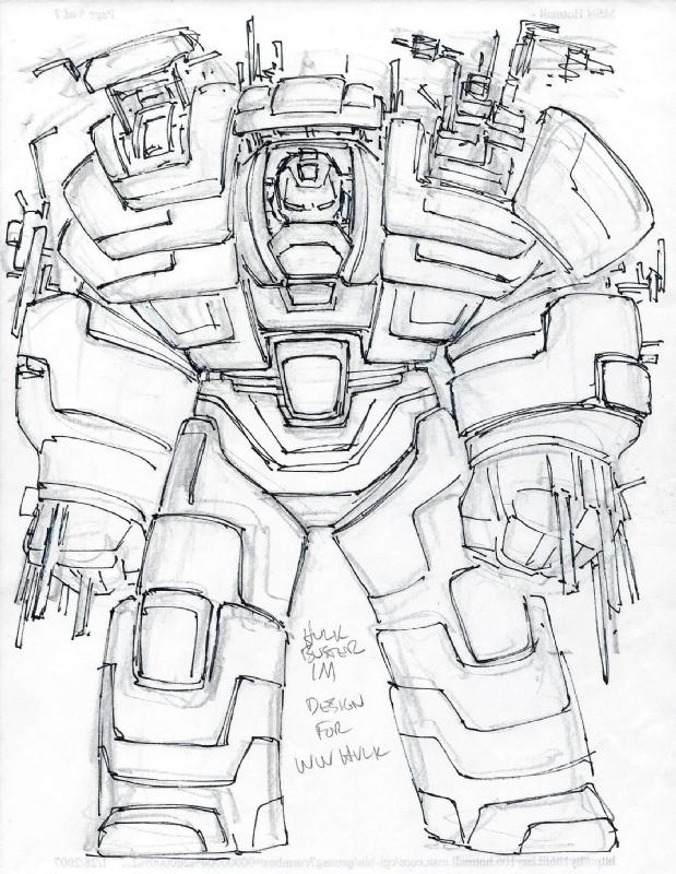 619x800 Hulkbuster Concept Sketch For World War Hulk (John Romita Jr),
