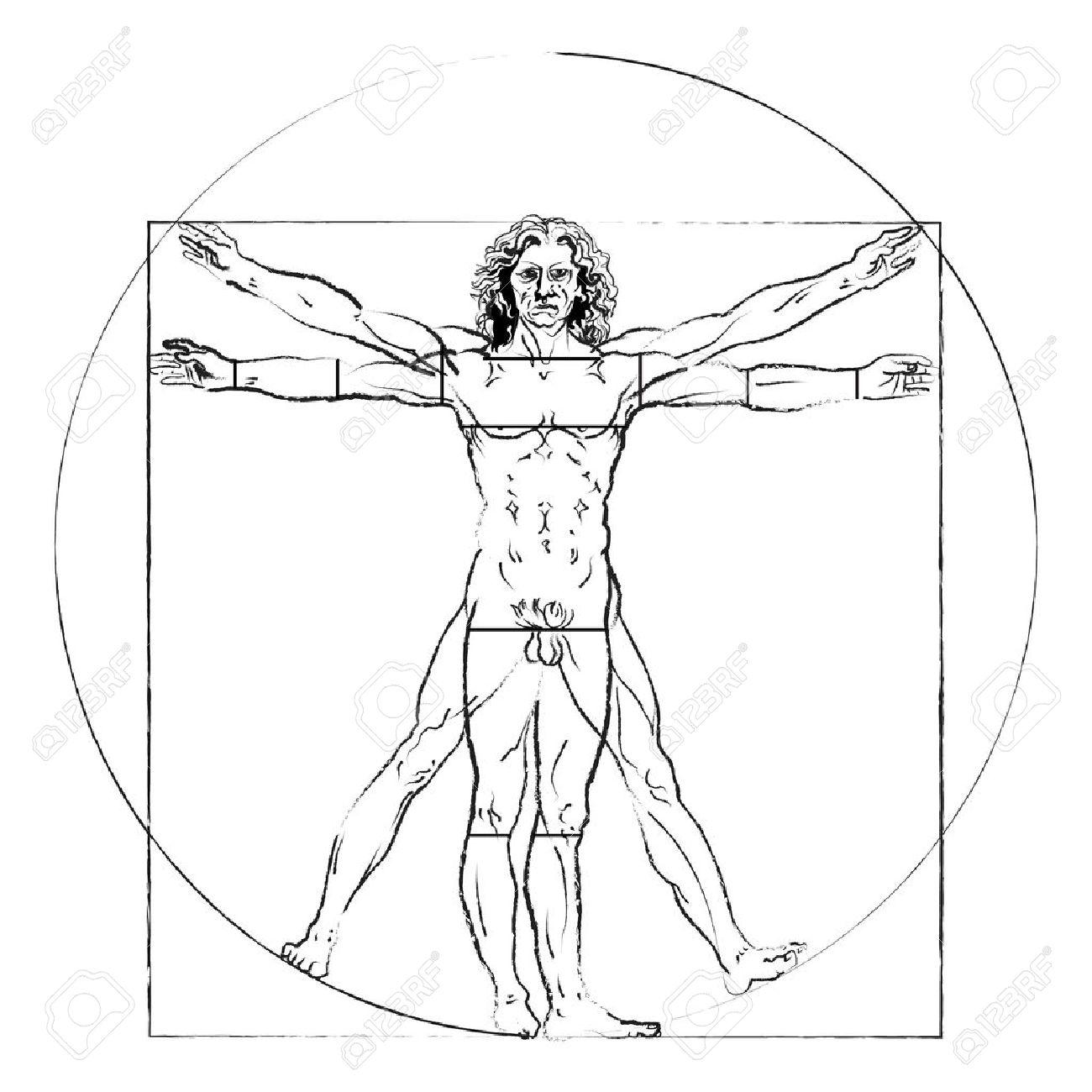 1300x1300 The Vitruvian Man. Leonardo Da Vinci