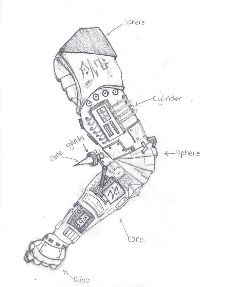 900x1140 Futuristic Robotic Arm By Strawberryjam0606