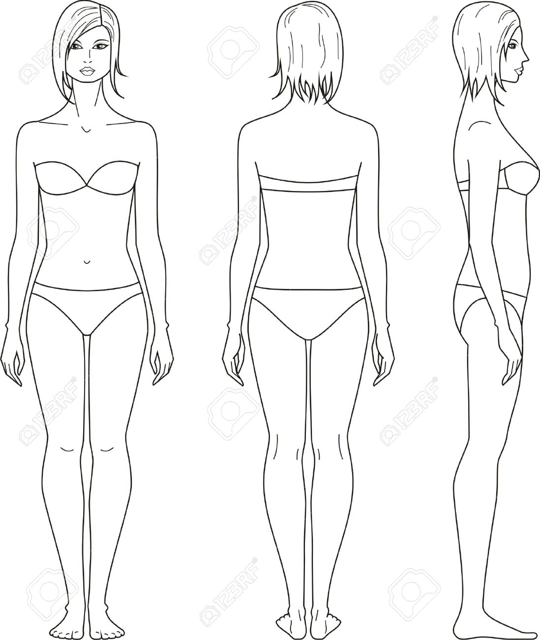 1098x1300 Illustration Of Women S Figure Front, Back, Side Views Royalty