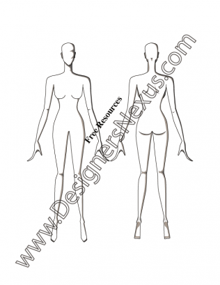 316x409 V51 Front Amp Back Poses Female Croqui Fashion Sketch Template