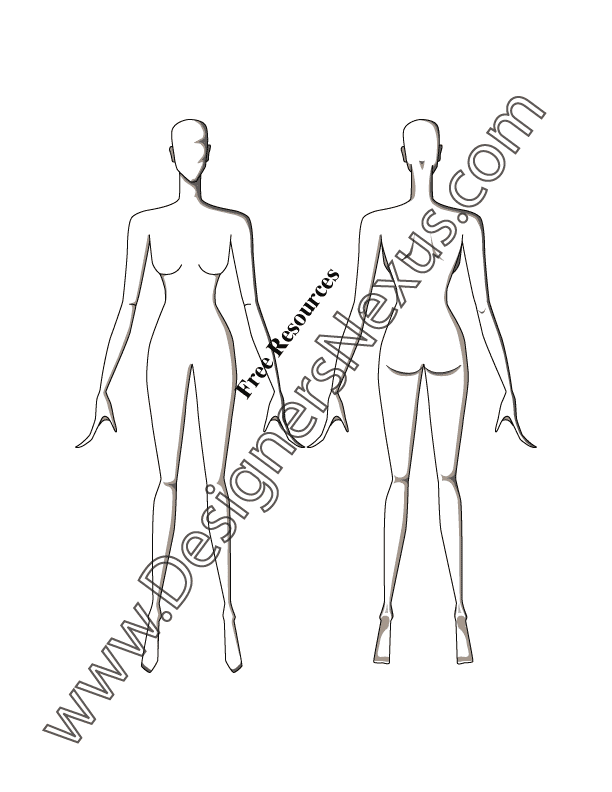 612x792 Free Figure Templates For Technical Flat Drawing