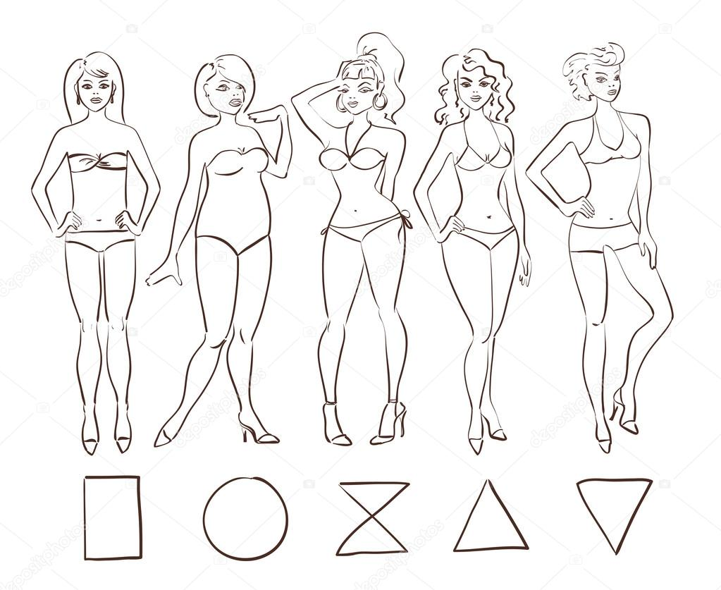 1023x837 Sketch Set Of Isolated Female Body Shape Types. Stock Vector