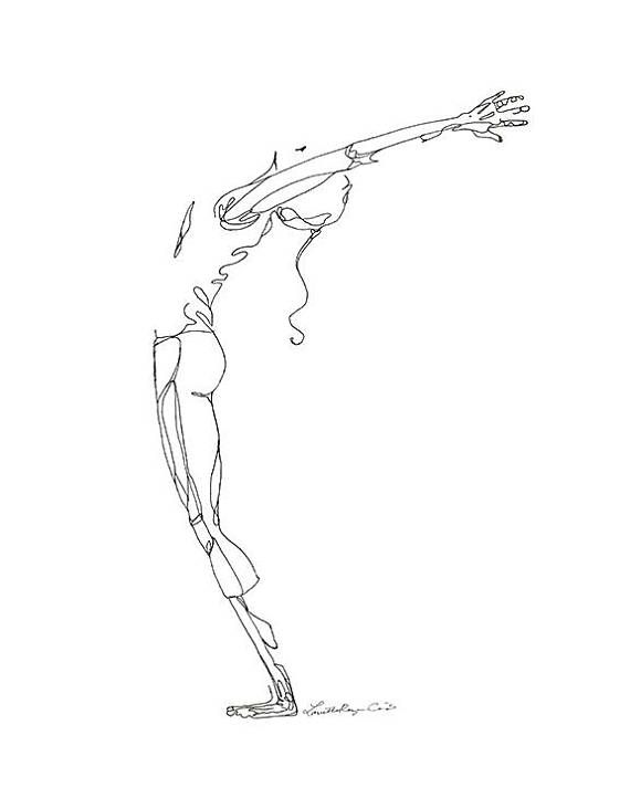 570x713 Digital Download Of Yoga Line Drawing Arms Raised Back Bend